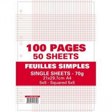 Sachet de 100 pages feuillets mobiles 70G seyes A4